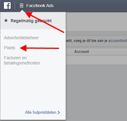 Facebook Pixel menu