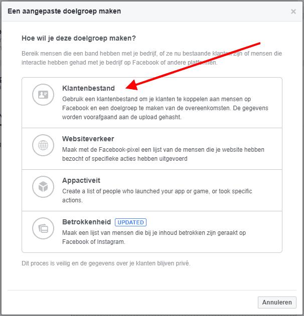 Facebook klantenbestand uploaden