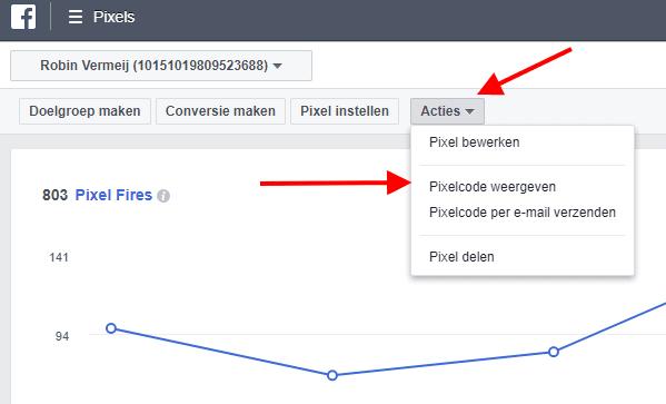 Facebook pixel weergeven
