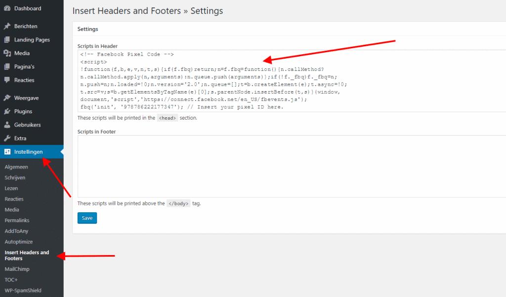 Facebook script instellen