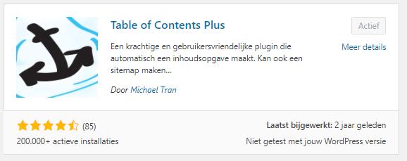 Inhoudsopgave website TOC